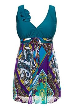 Wantdo Womens Slimming Tummy Control Skirtini Swimwear BlackishGreen US 10 * Check this awesome product by going to the link at the image.