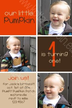 OUR LITTLE PUMPKIN - 3 Photo - Printable Birthday Party Invitation - Personalized Digital Photo Card for your Boy or Girl Pumpkin.  Super cute fall, autumn, September or October birthday invite!  Please support small business and purchase from www.kottageon5th.etsy.com.