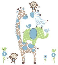 Boys Jungle Animals Decals - Vinyl Wall Art Decals Stickers 1 giraffe 1 elephant 1 zebra 2 monkeys 4 birds 3 flowers> The dimensions are 40 wide X 40 high * * Nursery Prints, Nursery Art, Nursery Decor, Baby Boy Rooms, Baby Boy Nurseries, Boy Quilts, Jungle Theme, Jungle Animals, Vinyl Wall Art