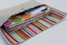 Cash budget envelopes and clutch - Blue Floral Dots Stripes. $30.00, via Etsy.