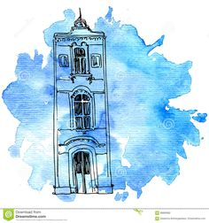 Vector House At Watercolor Background Stock Vector - Illustration of isolated, cityscape: 89895682