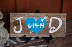Great as a Wedding sign, Anniversary Gift or Newlyweds Gift! Made from Recycled Cedar wood. Will be very rustic. Single board hand painted.  Tell me this when you order: 1. Initials 2. Date in numbers for the heart 3. Heart color, please be specific 4. date you need this by (right now ships in 4 weeks!)  Measures approx. 15 x 6 x .5