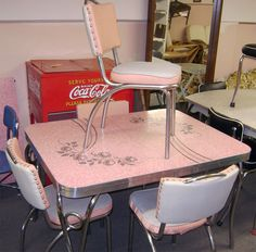 Chrome And Formica Dining Sets | Pink Patterened Formica Set | OLD DINETTE SETS
