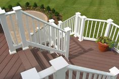 Vinyl Railing Outdoor Stair and Deck Railings Vinyl Deck Railing, Deck Railing Design, Deck Railings, Deck Design, Diy Wall Decor For Bedroom, Deck Makeover, Covered Pergola, Easy Install, My Dream Home
