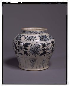 Jar  Vietnam, Lê dynasty (15th – 16th century)  Band of scrolling peonies painted in underglaze-cobalt, chocolate base  H. 20,50 cm   Tokyo, National Museum, TG-2224