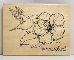Colibri avec Stamp fleur d'hibiscus caoutchouc par PollysPlace