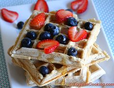 Eggless vegan waffles - So much better than you'd expect- light and fluffy! One hint: Instead of adding melted coconut oil to cold milk (as the author did), heat up the almond milk and then add the coconut oil. I didn't have any maple syrup, so I substituted honey, and it all came out just fine. Also, I used white whole wheat flour, and it worked perfectly.