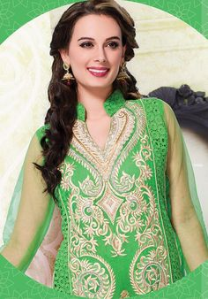 Green And Silver Long Chanderi  Designer Suits http://alicolors.com/index.php?route=product/category&path=102