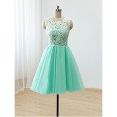 Luulla $99 + ship (amazon less) Short Mint Lace Tulle Prom Dress Round-Neck Lace A-Line Short Party Dress