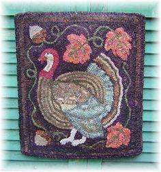 The Country Cupboard Turkey Tracks Primitive Folk Art Rug Hooking PAPER Pattern. $8.00, via Etsy.