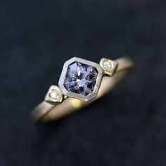 Blue Spinel Moissanite Gold Engagement Ring, Mixed Metal ring with 14k Palladium White Gold and 14k Yellow Gold Eco Friendly Gemstone Ring