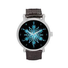 Ice Blue Snowflake Wrist Watch