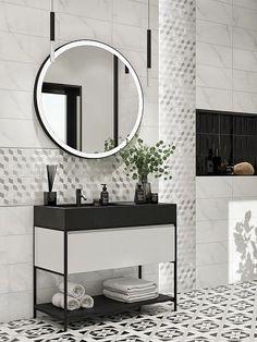 Ванная комната в современном стиле. Бордюры для плитки могут применяться везде, где используется кафельная плитка. Это важный элемент в ремонте, придающий законченный вид помещению, будь то ванная комната или кухня. Он также играет роль декоративной изюминки, которая может использоваться для разделения зон, выложенных плиткой. #узоры#чернобелый#чб#чёрнаямебель#узорнаплитке#декор#зонирование#бордюрдляплитки#бордюрдляванной Mirror, Bathroom, Furniture, Home Decor, Washroom, Decoration Home, Room Decor, Mirrors, Full Bath