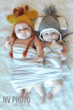 Twin Photography 3 Months Boy & Girl Animal Hats.