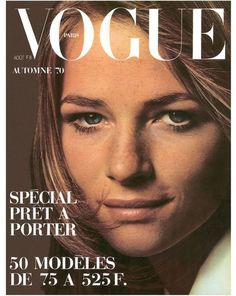 Paris Vogue August 1970 Cover Model: Charlotte Rampling Photographed by Jeanloup Sieff Vogue Magazine Covers, Fashion Magazine Cover, Fashion Cover, Vogue Covers, Fashion Sale, Vogue Fashion, High Fashion, Vogue Paris, Charlotte Rampling