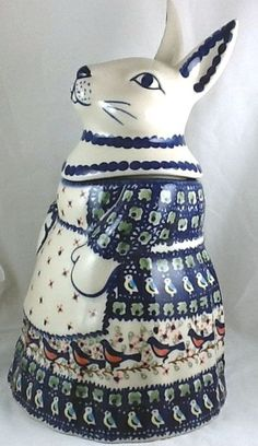 Set of 2 Polish Pottery Small Pitchers or Creamers in P324 Bunny Rabbit Pattern