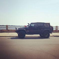 Nice Jeep!  #protecautocare #engineflush #carrepair #jeep #wrangler #suv #black #jeeplife #custom #customized #tinted #rims #big #tires #lifted #snorkle #followus