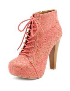 vintage lace lace-up heel bootie