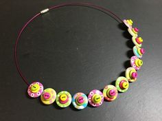 Button Necklace Spotted Wooden Choker  Easter Sunday £12.50