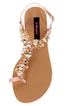 Dollhouse Radiant Rose Gold Rhinestone Studded Thong Sandals