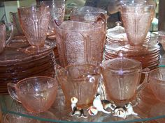 Cherry Blossom Depression Glass- this is the pattern I collect most.  I have complete sets in pink, green, and delphite, plus a child's set in pink.  Love it <3 Depression Self Help, Punch Bowls, Color, Colour, Colors
