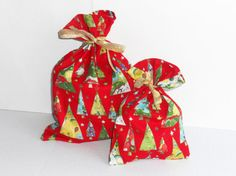 Set of Two Fabric Christmas Gift Bags  Eco Friendly  by ThePurseCo, $9.00