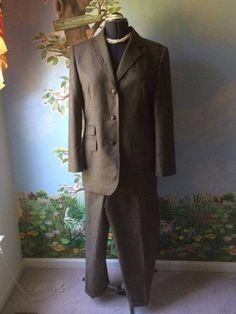 Ralph Lauren  Long Sleeve women Brown Checker Pant Suit Size 14/16 #RalphLauren #PantSuit