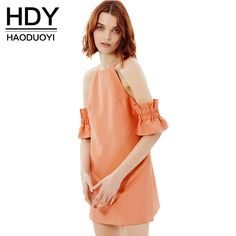 Cheap summer dress, Buy Quality backless dress directly from China dress fashion women Suppliers: HDY Haoduoyi 2017 Fashion Backless Dress Women Cute Off-shoulder Solid Orange Vestidos Hollow Out High Waist Female Summer Dress