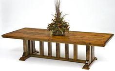 This barn wood dining tables is made from old reclaimed beams and timbers set in an elegant rustic trestle design. Salvaged wood makes beautiful dining tables.