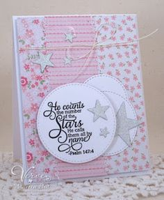 Handmade baptism card by Maureen Plut using the Shining Star stamp set from Verve. #vervestamps #faithstamping.  Psalm147:4