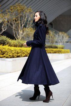 Winter Coat - handmade Red Coat Big Sweep High Collar Women Wool ...