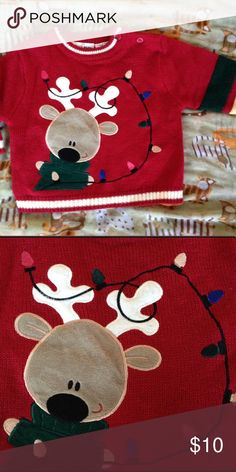 🌲Christmas, Reindeer Sweater 3/6 Months EUC🌲 Reindeer, Festive Sweater in a Size 3/6 Months. No Flaws or Defects. Check Out My Other Items, Including Kids' Items For A Great Deal! Shirts & Tops Sweaters