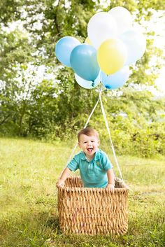 1 Year Old Boy Photo Shoot Ideas | year old photo shoot, balloons, cake smash | Carol Ruth Photography ...
