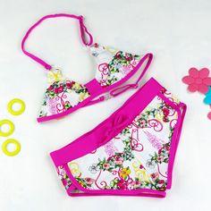 e87a8537f49c1 Girl Swimsuits Cute Flower Pattern Split Bikini Swimwear Cartoon Bikini  Biquini Infantil Menina Two Pieces Baby Bathing Suits Brand Name:  SLGADENMaterial: ...