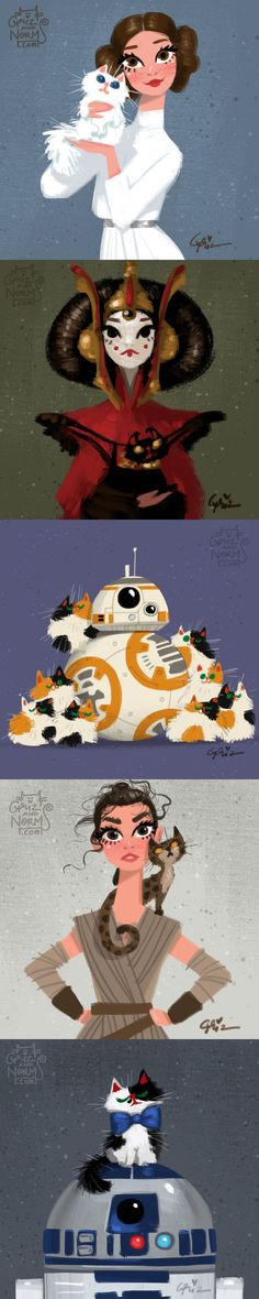 Artist From Walt Disney Animation Studio Draws Star Wars Characters With Cats (by grizandnorm) - 9GAG