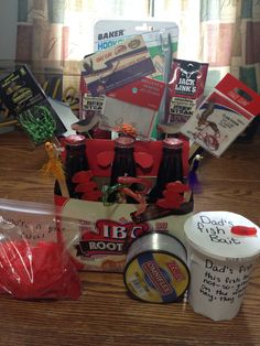 "Cute Father's Day gift! For the fisherman... Gift basket. Complete with 6 pack of root beer(could be just beer) beef jerkey, hooks, jigs, slip knots, 700 yds of line, a ""hook out"" arm, a ""lucky hook"" and lastly gummy worms labeled ""dad's fish bait"" and Swedish fish candy that say ""you're a great catch!"""