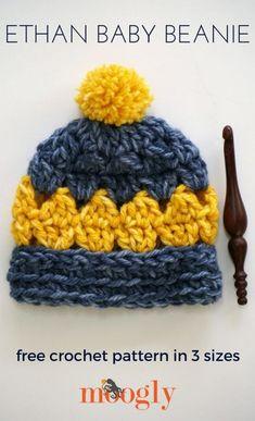 Ethan Baby Beanie - free crochet pattern in 3 sizes on Mooglyblog.com! #CrochetBeanie