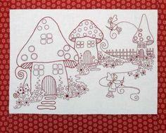 titching Fairies Red Work Version- by Rosalie Quinlan