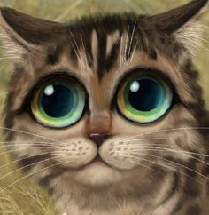 Keane Inspired big eyed cat print jungle art by SarahSpringStudio on Etsy♥♥ Kittens Cutest, Cats And Kittens, Nostalgia Art, Cats With Big Eyes, Huge Eyes, Jungle Art, Cute Animal Drawings Kawaii, Cat Character, Cat Drawing