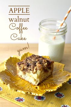 Easy and quick, this apple walnut coffee cake has the most amazing topping that gets tons of taste from chopped walnuts.
