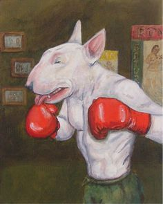 The Welterweight - Boxing Bull Terrier art print - Free shipping worldwide