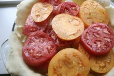Healthier tomato pie. Hunting down goat cheddar so I can make this bad boy. Sadie will lurve it.