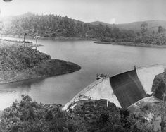 Waitakere Dam and reservoir before the height was raised.