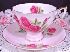 ROYAL STANDARD FASHION PATTERN PINK ROSES TEA CUP AND SAUCER | Antiques, Decorative Arts, Ceramics & Porcelain | eBay!