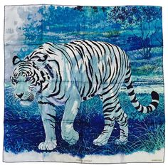 Hermes Blue Silk Twill Tigre du Bengale Carre by Robert Dallet Above