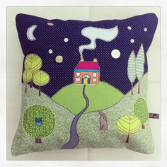 Sewing Cushions Little house on the hill appliqué cushion by Raggy Roux Applique Cushions, Cute Cushions, Patchwork Cushion, Cute Pillows, Sewing Pillows, Quilted Pillow, Applique Quilts, Small Sewing Projects, Free Motion Embroidery