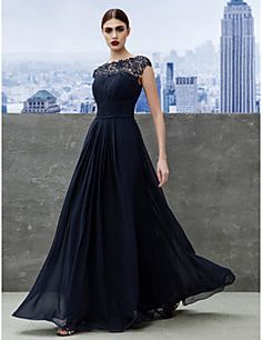 TS Couture® Formal Evening / Black Tie Gala Dress A-line Bateau Floor-length Georgette with Draping / Lace – USD $ 335.00