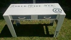bureau 2 600x337 Bureau en palettes / Pallets Desk in pallet office  with Recycled Pallets Furniture