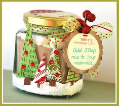 Hot cocoa gift jar--Emma's Paperie: Glass Jars workshop This makes me so excited for Christmas! Christmas Jars, Homemade Christmas Gifts, Christmas Goodies, Homemade Gifts, Christmas Holidays, Christmas Decorations, Homemade Cookies, Christmas Design, Mason Jar Gifts