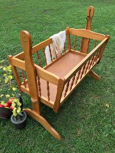 Vintage Baby Bed / Wood Baby Cradle / Baby by TheBarnLadder